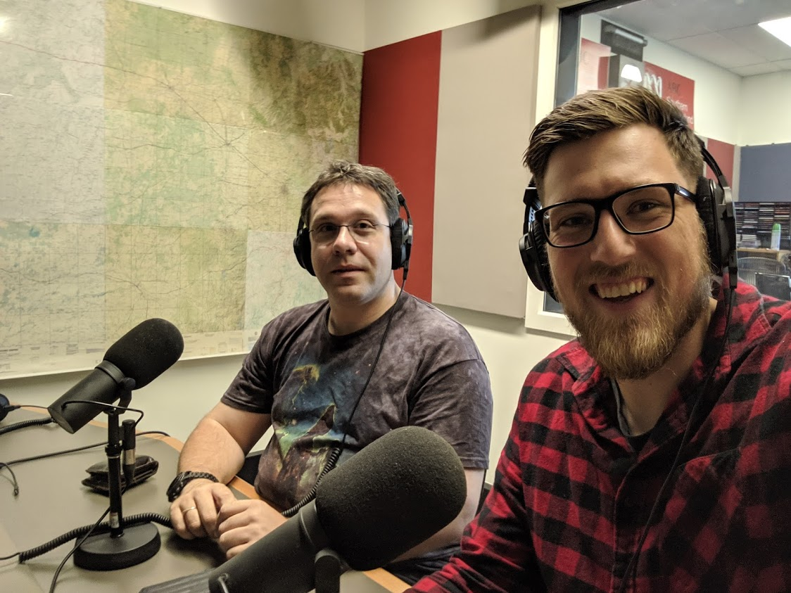 Jake on ABC radio with his dashing supervisor Jonti Horner