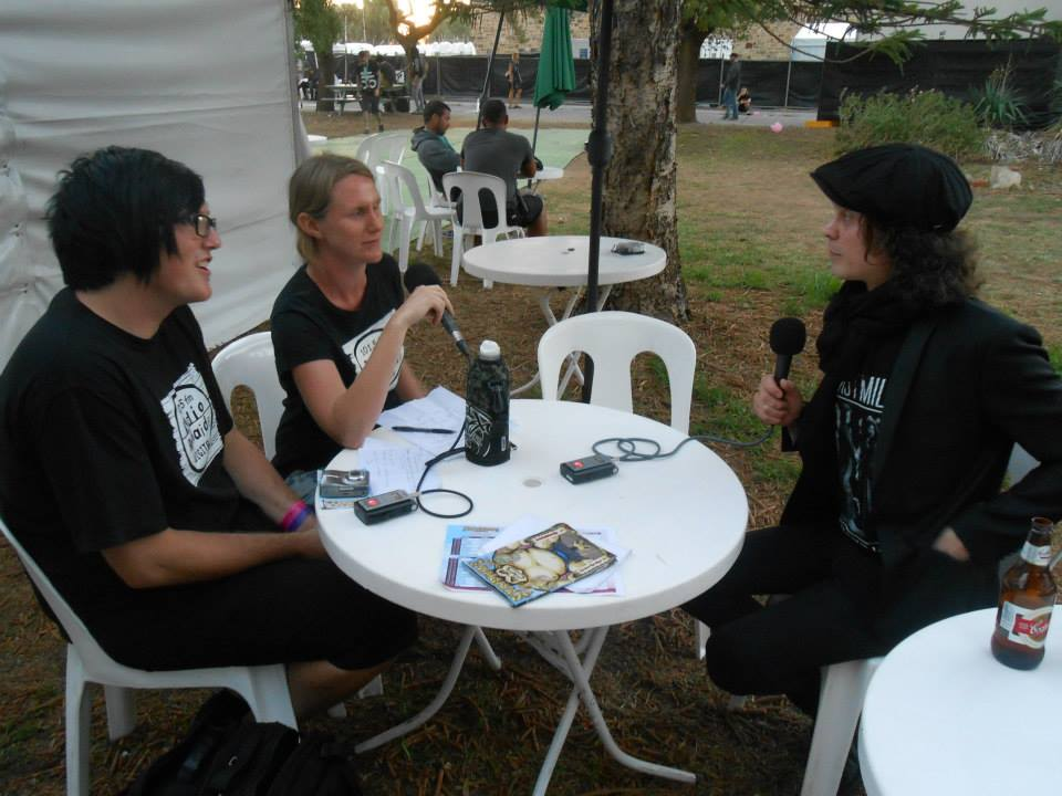 A much younger Jake, talking to Ville Valo, lead singer of the Finnish Love Metal band, HIM